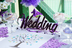 Wedding accessories. Decoration of the table. Royalty Free Stock Photo