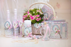 Wedding accessories for the morning of the bride in pink . Weddi Royalty Free Stock Photos
