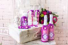 Wedding accessories for the morning of the bride in pink . Weddi Royalty Free Stock Photo