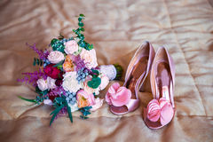 Wedding accessories for the morning of the bride in pink . Weddi Stock Photos
