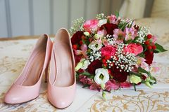 Wedding accessories of the bride in pink royalty free stock image