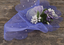 Wedding accessories on old wooden plank. Close up photo Royalty Free Stock Images