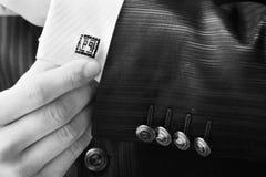 Wedding accessory, Groom in elegant suit stock image