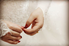 Wedding. Action when wearing a wedding dress.Pure and sacred.Married, Excitement Stock Photos