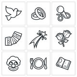 Wedding Agency icons. Vector Illustration. Vector  Flat Icons collection on a white background for design Royalty Free Stock Photography