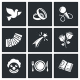 Wedding Agency icons. Vector Illustration. Vector Isolated Flat Icons collection on a black background for design Royalty Free Stock Image