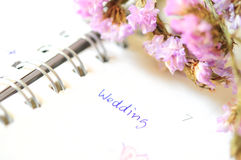 Wedding agenda. On time planner stock photos