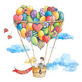 Wedding on the air balloon with hearts,  flowers, clouds, bride and groom. Hand drawn watercolor illustration Royalty Free Stock Image