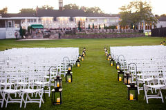 Wedding aisle with lanterns Stock Images