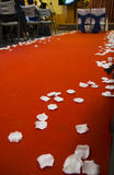 Wedding Aisle. Red wedding aisle with white petals royalty free stock photo