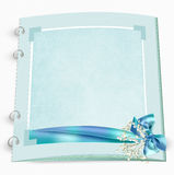 Wedding album with bow and babys breath. Aqua bridal album with bow , pearls and babys breath on white textured background Royalty Free Stock Photos