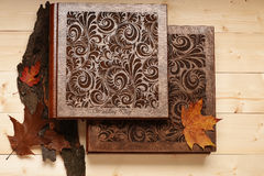 Wedding album on wooden background Royalty Free Stock Images