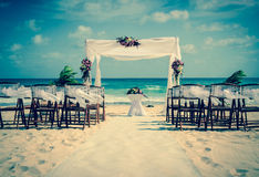 Wedding altar on the beach. In Mexico with caribbean sea in the background Stock Images