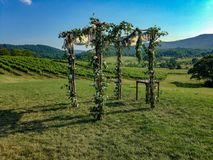 Wedding altar in mountains. Chuppa of flowers in the mountains Stock Photography