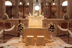 Wedding altar. An altar ready for wedding Royalty Free Stock Photos