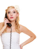 Wedding. Angry woman fury bride talking on phone Stock Image