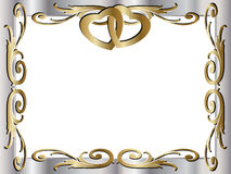 Wedding anniversary border invitation. A wedding anniversary border invitation frame with copyspace, beautiful rings hearts Royalty Free Stock Images