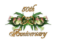 Wedding Anniversary Calla Lilies 50th. Image and illustration composition of pink calla lilies for 50Th wedding anniversary invitation with gold hearts and text Stock Photos