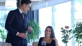 Wedding Anniversary Celebration at the restaurant stock video footage