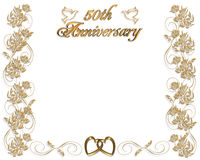 Wedding Anniversary invitation 50 years. 3D Illustrated  design for 50th wedding Anniversary card or invitation. Gold ornamental design with golden hearts, doves Royalty Free Stock Image