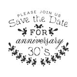 Wedding Anniversary Party Black And White Invitation Card Design Template With Calligraphic Text Royalty Free Stock Photo