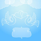 Wedding announcement with doves. EPS10. Contains transparent objects (clouds and curly frame Royalty Free Stock Photo