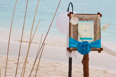 Wedding announcement on tropical sea and beach. Background Royalty Free Stock Images