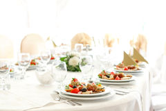 Wedding appetizers. Wedding table decoration with appetizers Stock Photography