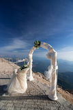 Wedding arch. Against the blue sky Stock Photography