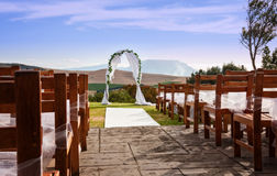 A wedding arch against a outdoor landscape Stock Photography