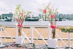 Wedding arch on the beach Royalty Free Stock Photo