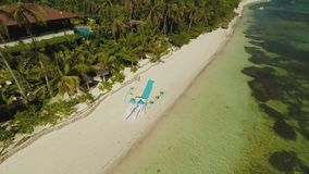 Wedding arch on the beach. Outing wedding ceremony. Aerial view of Bohol coast Island. Aerial. Philippines. Wedding arch on the beach. Outing wedding ceremony stock video footage