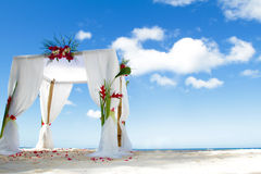 Wedding arch on beach. Wedding arch and set up on beach Stock Image