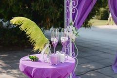 Wedding arch. Beautiful Wedding Ceremony. Wedding ceremony violet color Royalty Free Stock Photo
