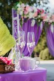 Wedding arch. Beautiful Wedding Ceremony. Wedding ceremony violet color Royalty Free Stock Photography