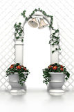 Wedding arch with bells and flowers Stock Photography