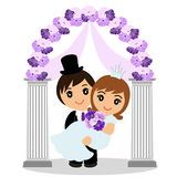 Wedding arch with bride and groom. Wedding arch with bride and groom isolated on white background. Bride and groom. Wedding design. Wedding decoration. Vector Royalty Free Stock Image