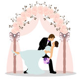Wedding arch with bride and groom. Wedding arch with bride and groom isolated on white background. Bride and groom. Wedding design. Wedding decoration. Vector Stock Images