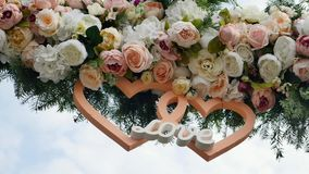 Wedding arch decorated with flowers.  stock video footage