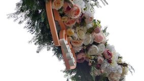 Wedding arch decorated with flowers.  stock video
