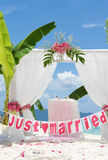 Wedding arch decorated with flowers Stock Images