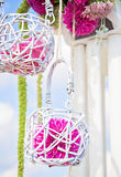 Wedding arch decoration in white and purple Stock Photo