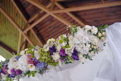 Wedding arch element of violet flowers Royalty Free Stock Photo