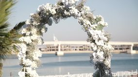 Wedding arch with flowers. Beautiful wedding arch with flowers stock video