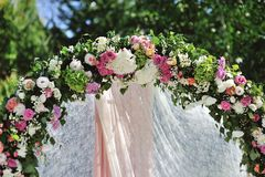 Wedding Arch with flowers Royalty Free Stock Image