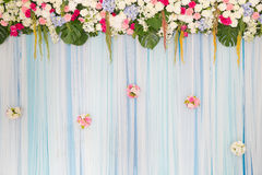 Wedding Arch with flowers on the grass Royalty Free Stock Images