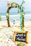 Wedding arch of flowers and ivy stands on the shore beach. Plate just married in the foreground Stock Photography