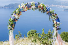 Wedding arch with flowers Stock Photos