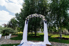 Wedding arch with flowers. And white cloth near the birch Royalty Free Stock Images