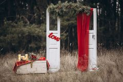 Wedding arch. In the forest royalty free stock image